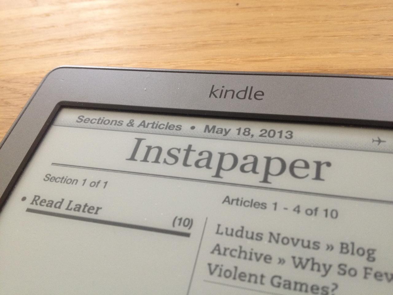 Instapaper + Kindle