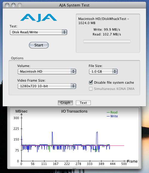 AJA System Test Seagate Momentus XT 500GB