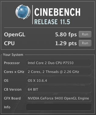 Cinebench Test Original HDD og RAM