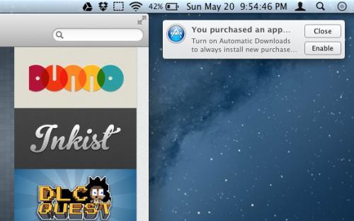 Automatisk nedlastning i Mac App Store