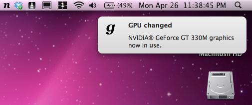 gfxCardStatus viser deg hvilken GPU du bruker