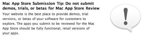 Ingen demoer i Mac App Store