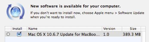 Mac OS X oppdateres til 10.6.7