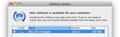 Mac OS X 10.5.7 er oppdatert