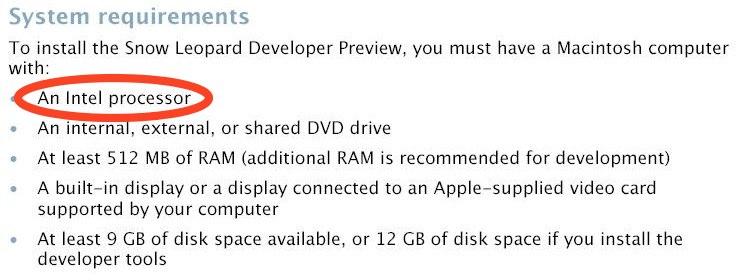 Snow Leopard kun for Intel