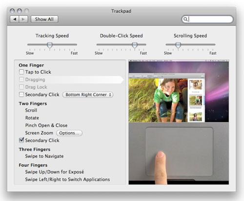 Trackpad innstillinger i MacBook