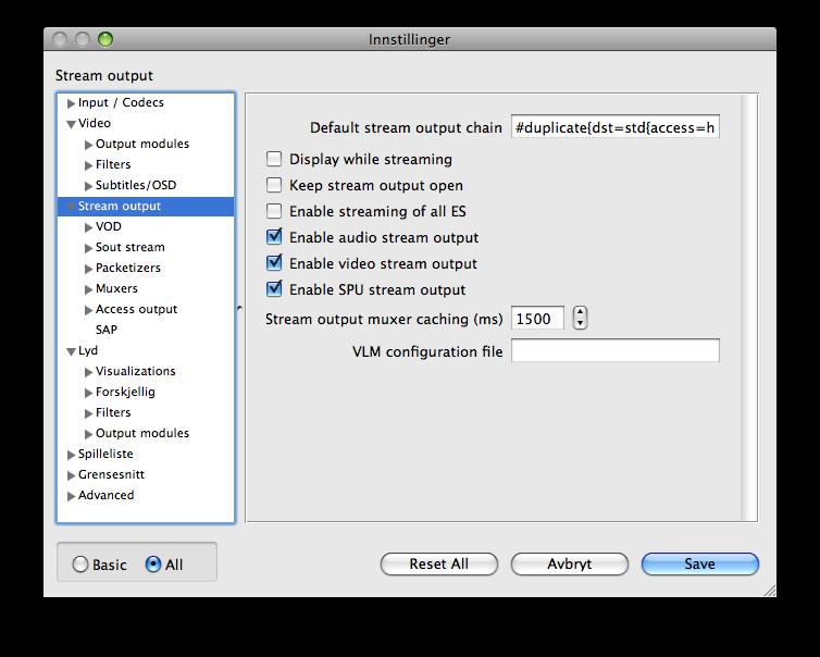 avanserte innstillinger i VLC