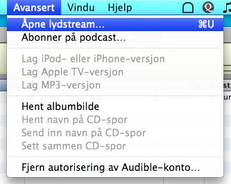 Åpne lydstream i iTunes